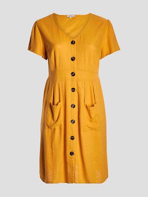 Robe droite boutonnee jaune moutarde femmegt