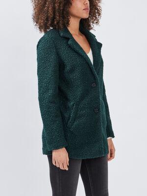 Manteau droit boutonne vert femme