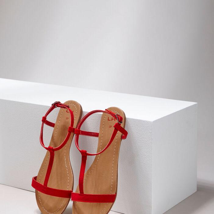 Sandales plates femme rouge
