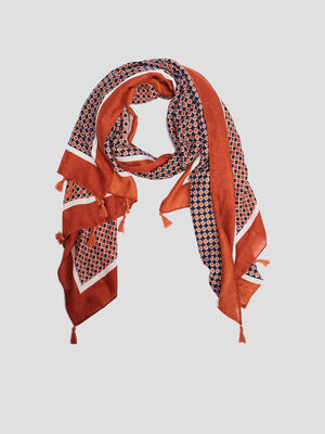 Foulard cheche a pampilles orange fonce femme