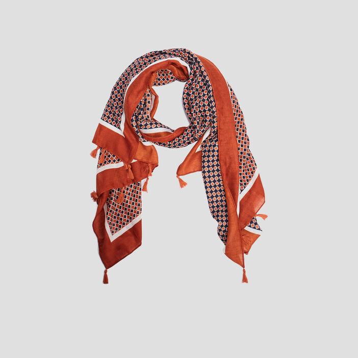 Foulard chèche à pampilles femme orange foncé