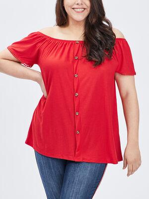 T shirt manches courtes rouge femmegt