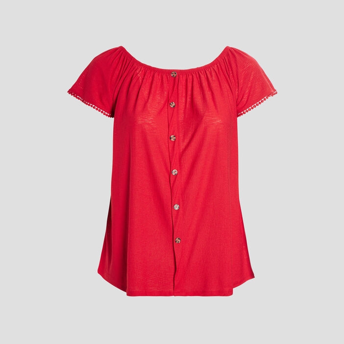 T-shirt manches courtes femme grande taille rouge