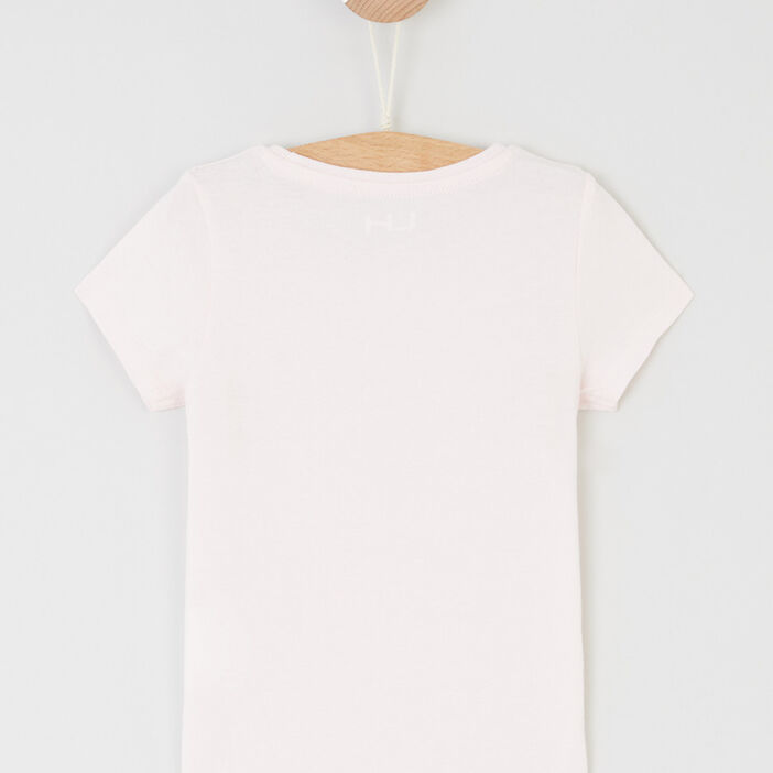 T-shirt uni à manches courtes fille rose clair