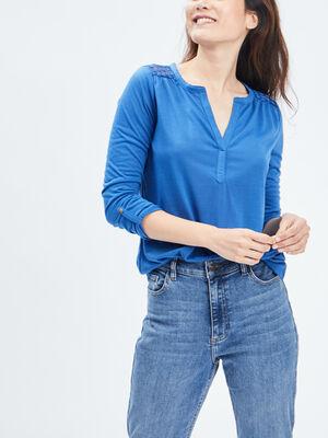 T shirt manches 34 bleu roi femme