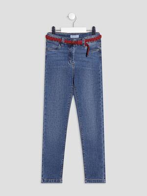 Jeans slim ceinture Creeks denim double stone fille