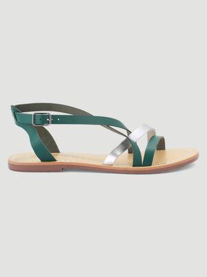 Sandales cuir talon plat vert femme