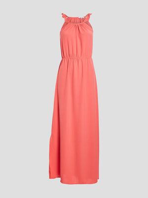 Robe longue evasee fendue orange corail femme