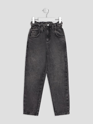 Jeans mom gris fille