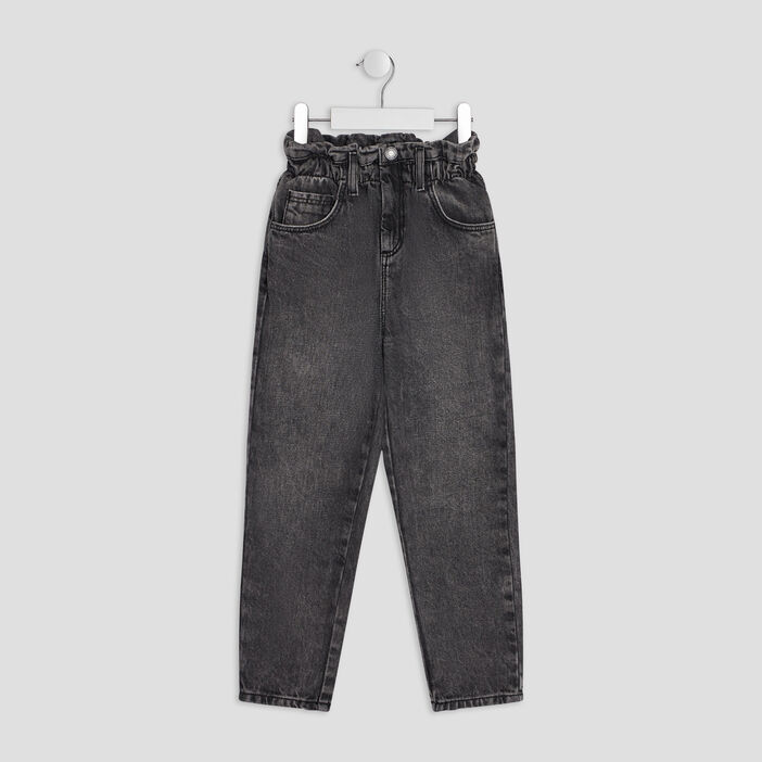 Jeans mom fille gris
