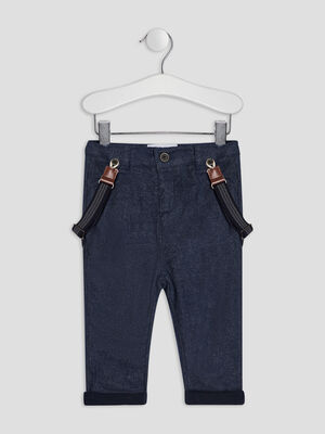 Pantalon droit a bretelles gris bebeg