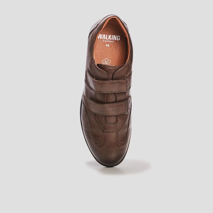 Sneakers en cuir à scratchs homme marron