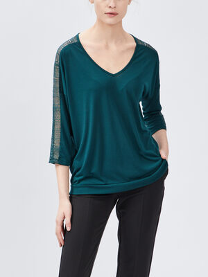 T shirt manches 34 vert emeraude femme