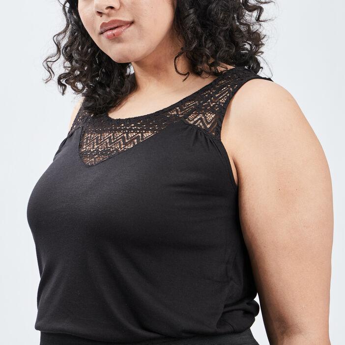 Débardeur bretelles larges femme grande taille noir