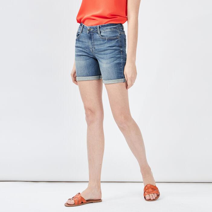 Short slim en jean délavé femme denim stone