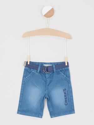 Bermuda effet vieilli ceinture textile bleu bebeg