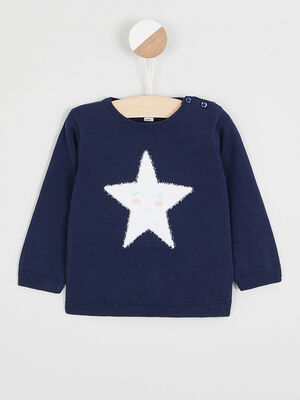 Pull col rond lapin brode bleu marine fille