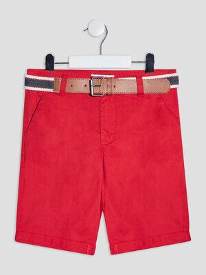 Bermuda droit ceinture rouge garcon