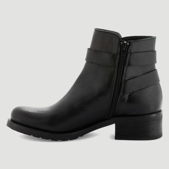 Boots motardes en cuir femme noir