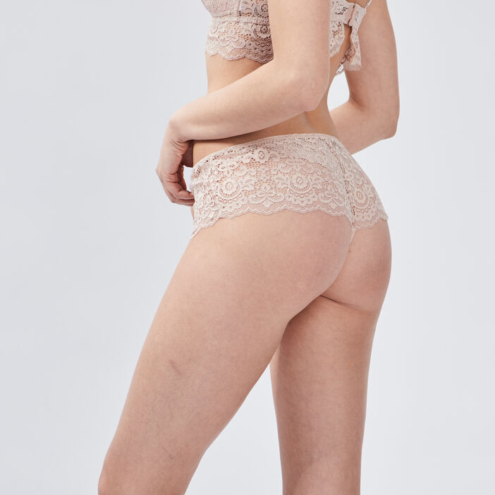 Culotte boxer string dentelle femme rose clair
