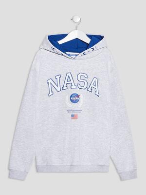 Sweat a capuche NASA gris clair fille