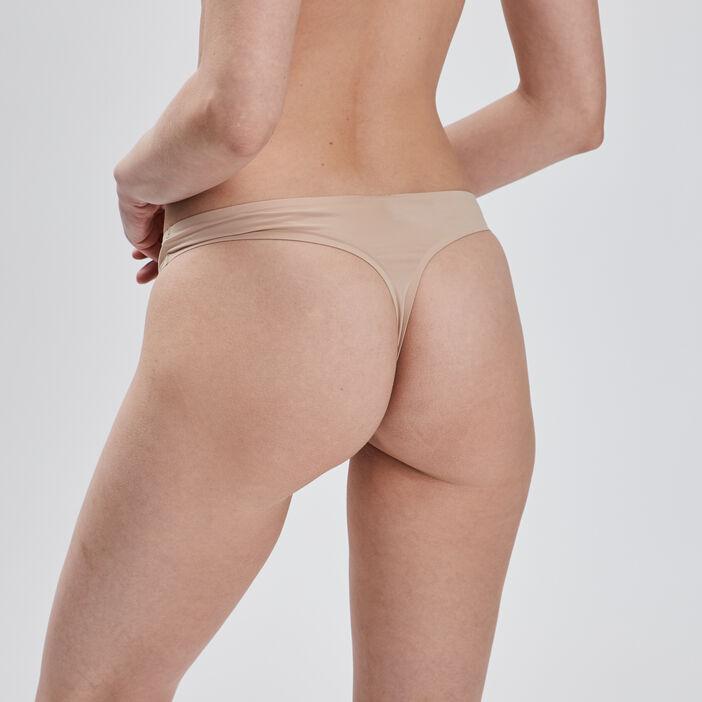 String microfibre femme beige