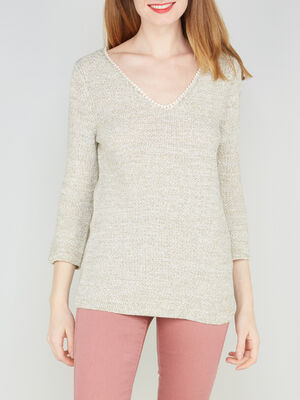 Pull maille chinee avec macrame beige femme
