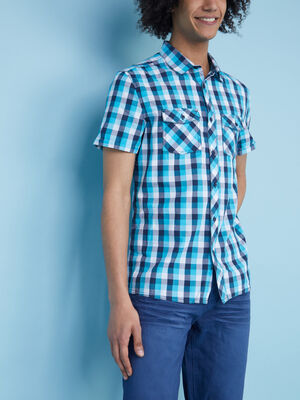 Chemise slim en coton carreaux bleu turquoise homme