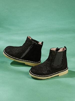 Boots cuir avec elastique daisance noir bebe