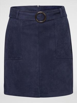 Jupe unie avec ceinture bleu marine femme