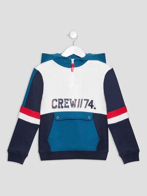 Sweat a capuche Creeks bleu canard garcon