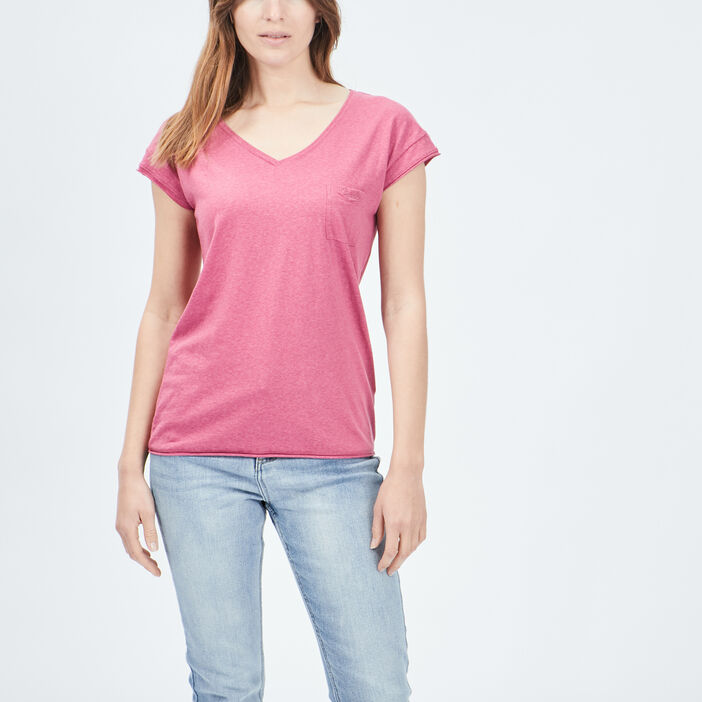 T-shirt manches courtes Creeks femme rose framboise