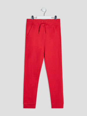 Jogging taille a coulisse rouge garcon
