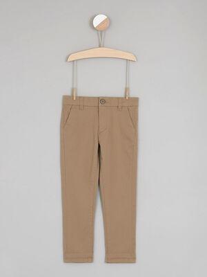 Pantalon uni coupe chino beige garcon