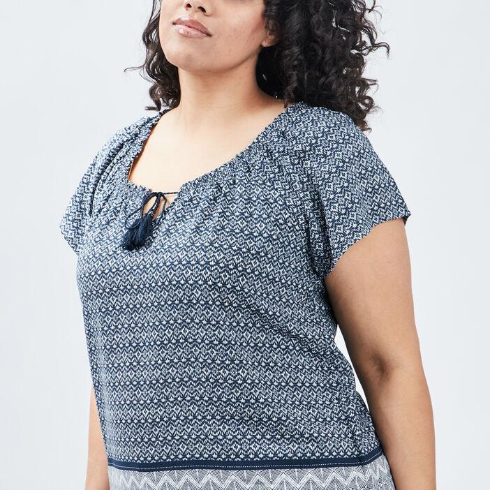 Blouse grande taille femme grande taille bleu marine