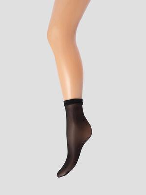 Lot 2 socquettes 15D noir femme