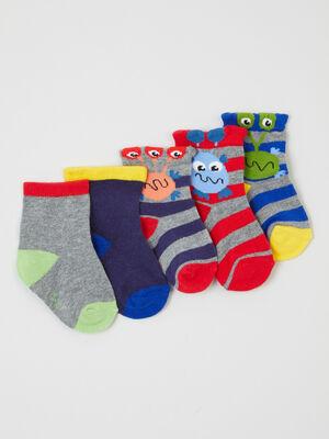 Lot 5 paires chaussettes coton multicolore mixte