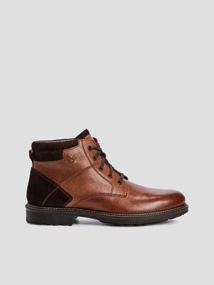 Bottines crantees a lacets marron homme