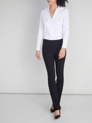 Pantalon uni taille basse noir femme