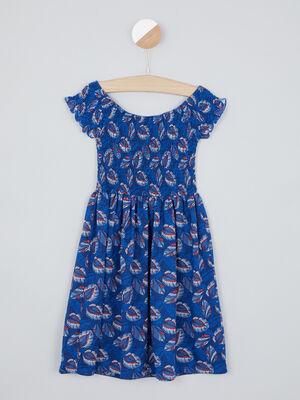 Robe imprimee buste smocke bleu marine fille