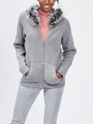 Gilet zippe a capuche gris femme