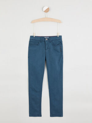 Jean zippe coupe slim bleu canard garcon