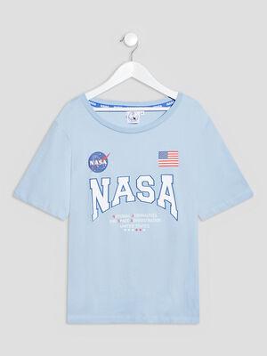 T shirt manches courtes NASA bleu ciel fille