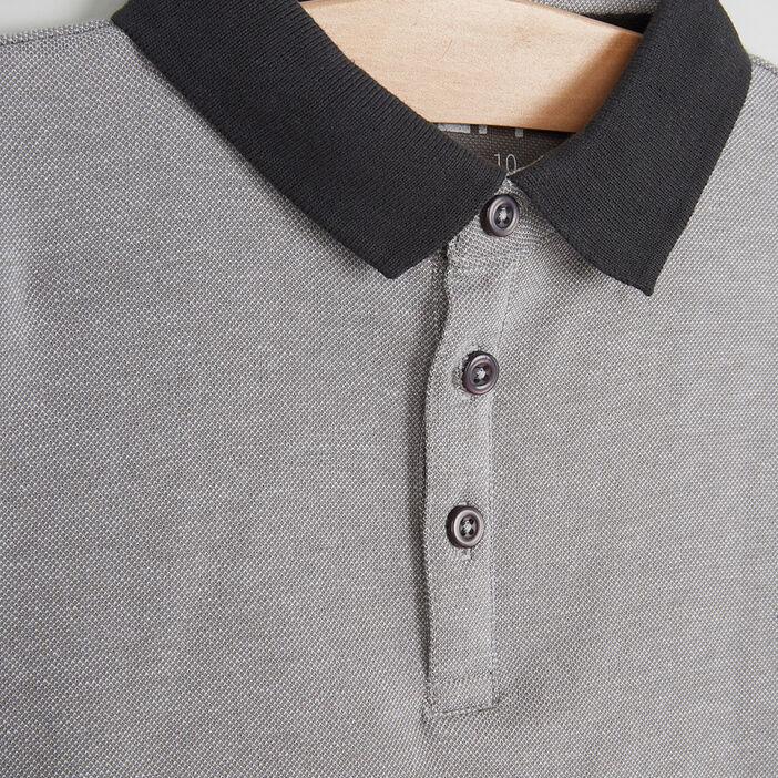 Polo manches courtes en coton garçon gris