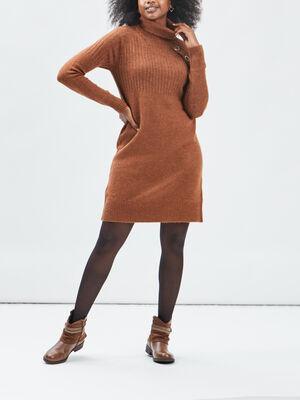 Robe pull droite marron clair femme