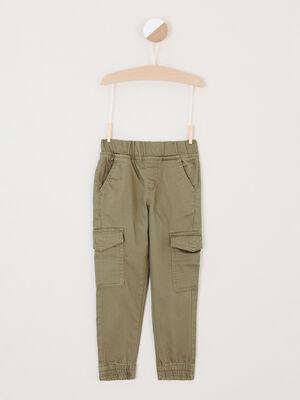 Pantalon de jogging uni multipoches vert kaki garcon