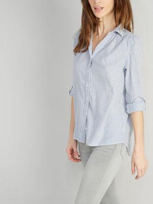 Chemise a rayures en coton bleu femme