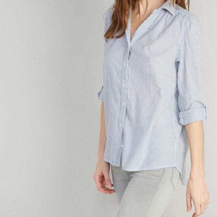 Chemise à rayures en coton femme bleu