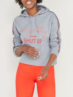 Sweatshirt a capuche cropped gris femme