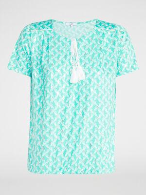 T shirt imprime avec lien pompon bleu turquoise femme
